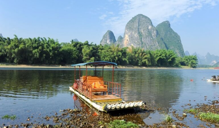 Boat on river in Asia